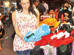 Shanti Dynamite exploring cushions at a store-in Naveen Market in Kanpur.