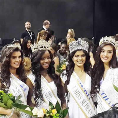 Forth runner-up Miss Poland, Second runner- up Miss Gabon, Miss Supranational Asha Bhat and First runner-up Miss Thailand