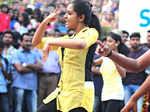 Actress Mahalakshmi dances with her college mates