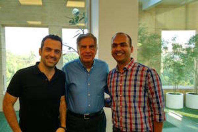 Xiaomi Global VP Hugo Barra, Ratan Tata and Xiaomi India chief Manu Jain (left to right).