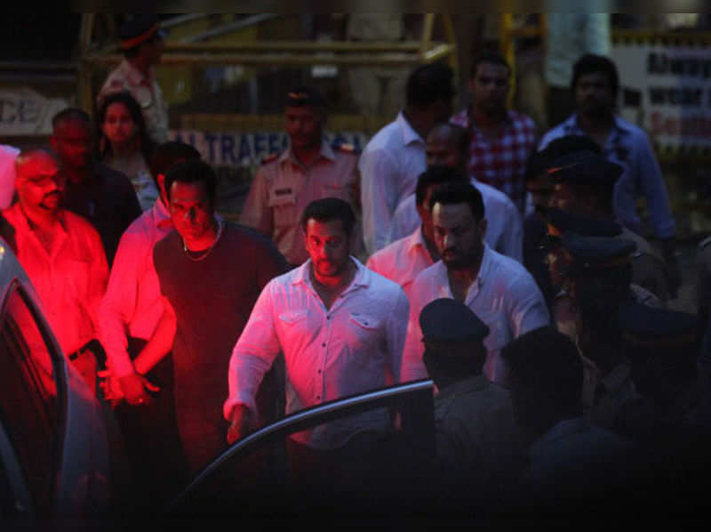Salman Khan coming out of Sessions Court, on May 6, 2015 in Mumbai, India. Bombay high court grants two days interim bail to Salman Khan in 2002 hit-and-run case till May 8 to hear his appeal against conviction. (Getty Images)