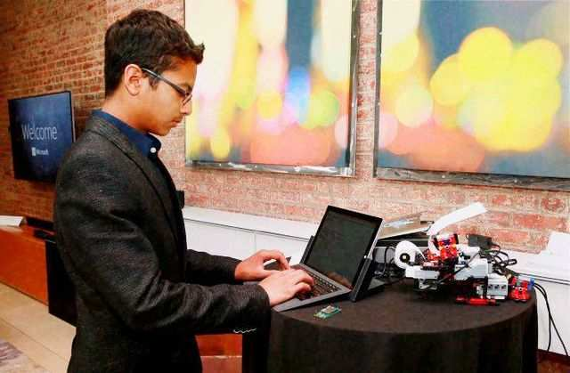 Shubham Banerjee, an eighth-grade student in Santa Clara, California was invited by Microsoft to showcase his Braigo 2.0 printer at a tech fair organized by the company here.