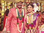 Manchu Manoj and Pranathi pose during their wedding ceremony Photogallery - Times of India