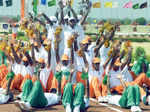A tricolour formation during Photogallery - Times of India