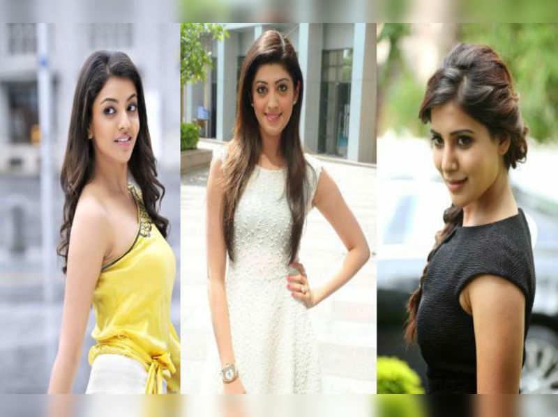 Pranitha, Kajal and Samantha with Mahesh Babu