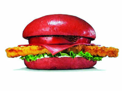 Will you eat this fiery red burger?