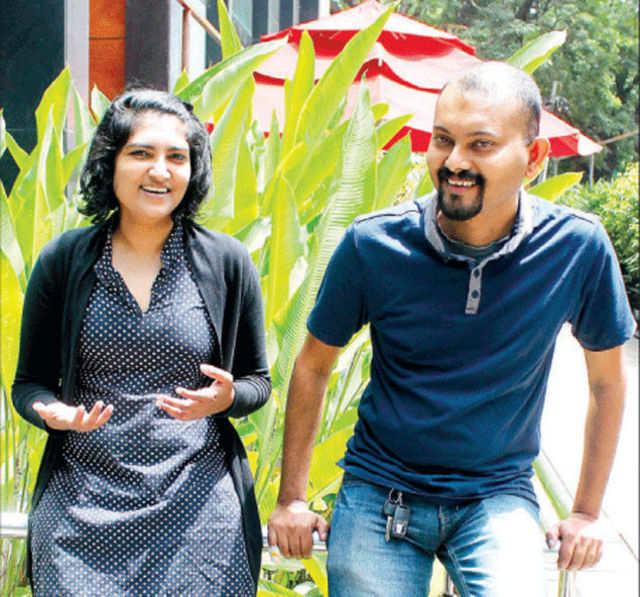 Prasanna Krishnamoorthy with wife Lavanya. Prasanna closed his startup but that didn't hurt his employability. He now mentors startups for Microsoft. (TOI photo: Syed Asif)