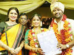 Suganya poses with newlyweds Shanthanu Bhagyaraj and Keerthi