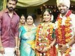 Actor Vikranth poses with newlyweds Shanthanu Bhagyaraj and Keerthi
