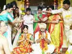 Shanthanu Bhagyaraj and Keerthi during their wedding ceremony