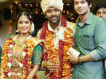Actor Nakul poses with newlyweds Shanthanu Bhagyaraj and Keerthi during the wedding ceremony