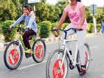 Raahgirs enjoy some early morning cycling during Raahgiri Day