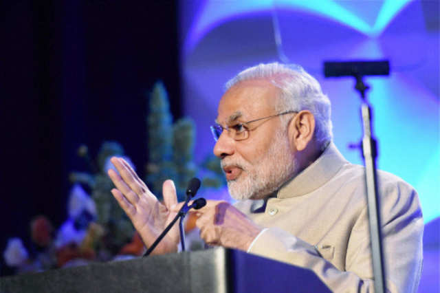 Prime Minister Narendra Modi addresses during the Digital India and Digital Technology dinner function in San Jose. (PTI photo)
