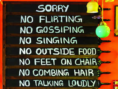 Funny and bizarre restaurant rules