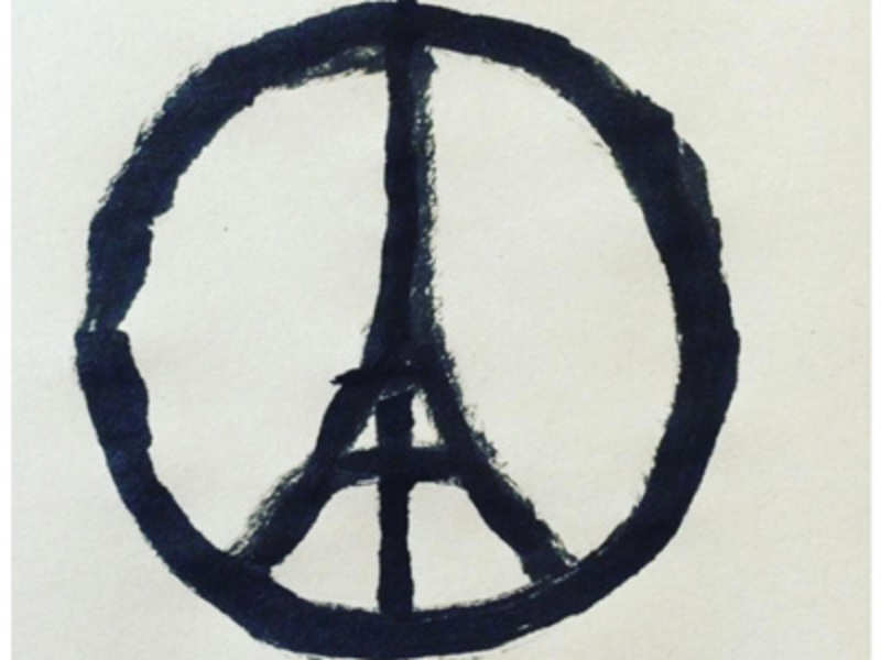 I drew the Peace for Paris symbol as a sign of solidarity