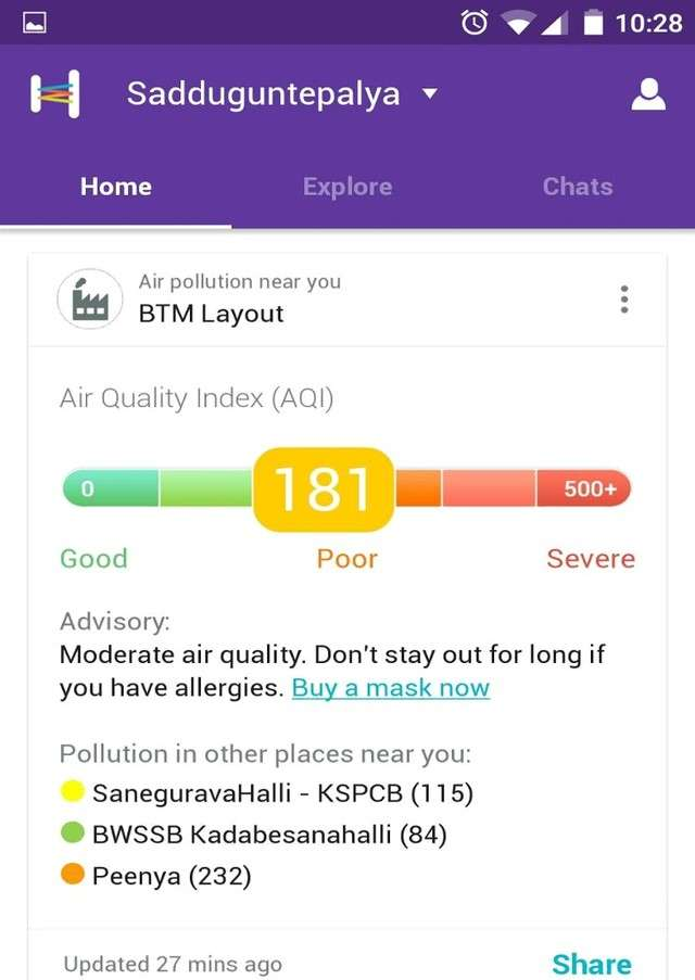 Helpchat app gets pollution alert feature to enable users avoid highly polluted areas.