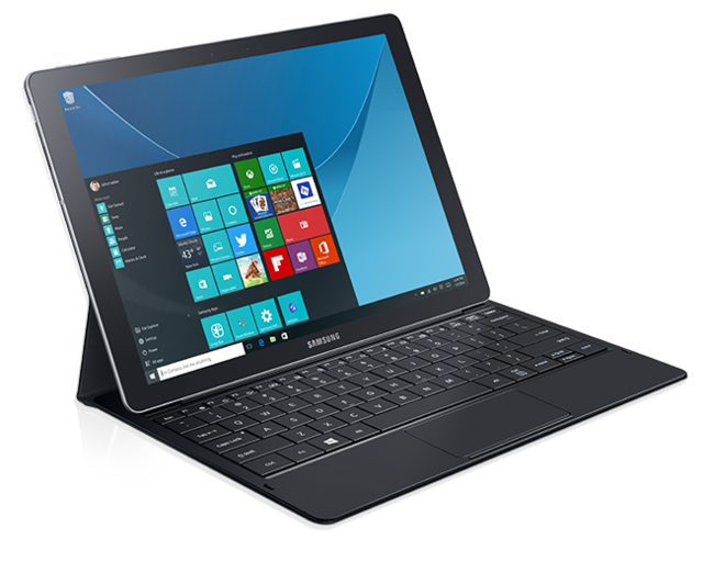 Samsung Galaxy TabPro S has a 12-inch screen, Intel Core M processor, 128GB storage, 4GB RAM, USB Type C connector, optional 4G support and comes with a keyboard and stylus.