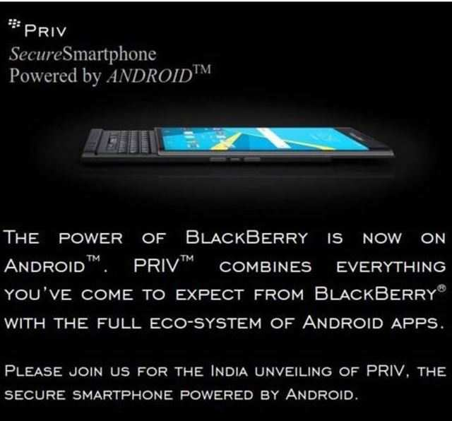 BlackBerry Priv is the company's first-ever Android smartphone.