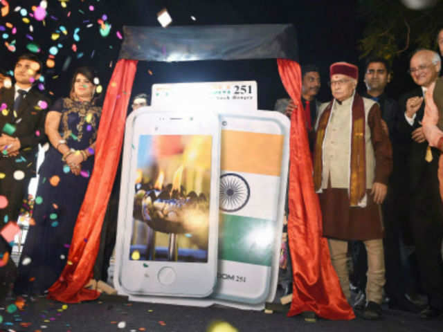 Launch of Smartphone-Ringing Bells Freedom 251 in New Delhi on Wednesday. (PTI photo)