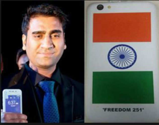 Director of Ringing Bells Mohit Goel during the launch of Smartphone-Ringing Bells Freedom 251 in New Delhi on Wednesday.