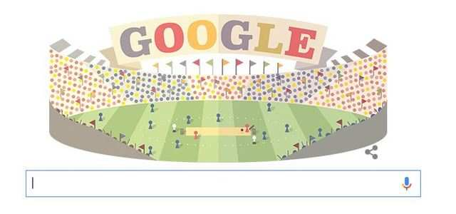 Google doodle shows a cricket stadium jam packed with spectator.