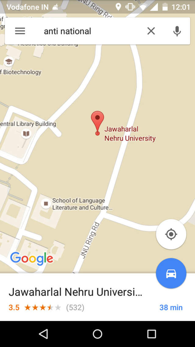 A screenshot of Google Maps on Android showing JNU under the keyword search anti-national.