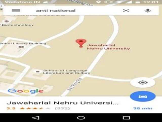 On Google Maps, JNU top result in search for 'anti-national'