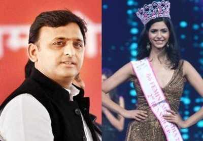 UP chief Minister Akhilesh Yadav and Pankhuri Gidwani, fbb Femina Miss India 2016 2nd runner-up.