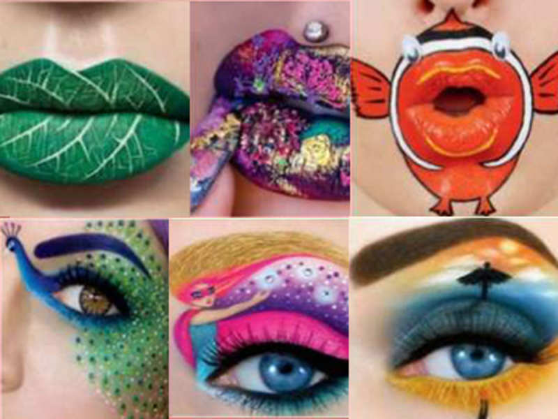 Trying Their Hand At Eye And Lip Art