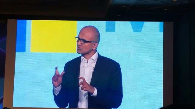 Microsoft CEO Satya Nadella speaking at the company's 'Tech For Good, Ideas for India' event in New Delhi