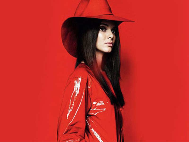 Try this red hot vinyl raincoat like Kendall Jenner