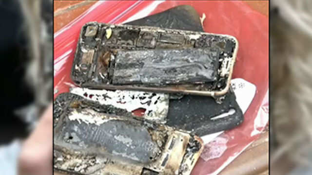 An iPhone 7 has caught fire and destroyed a car