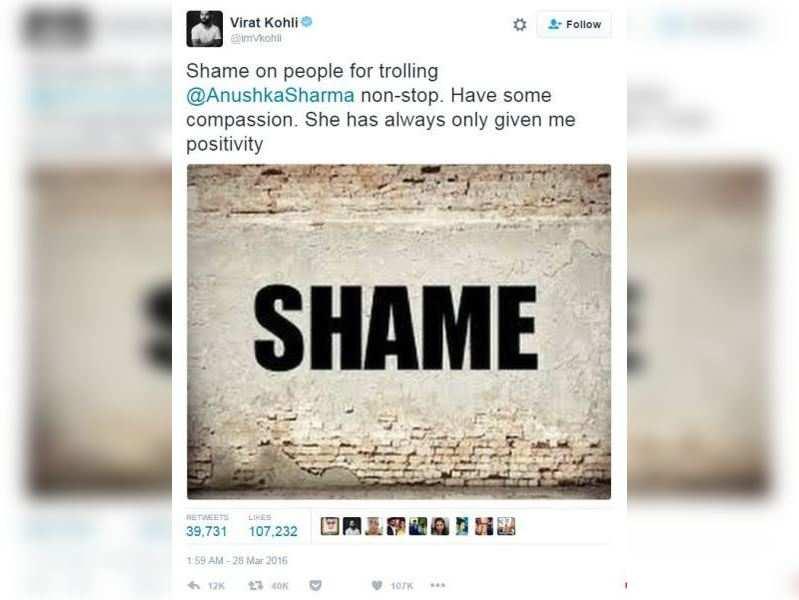 Virat Kohli's post supporting Anushka Sharma declared the 'Golden Tweet' of 2016