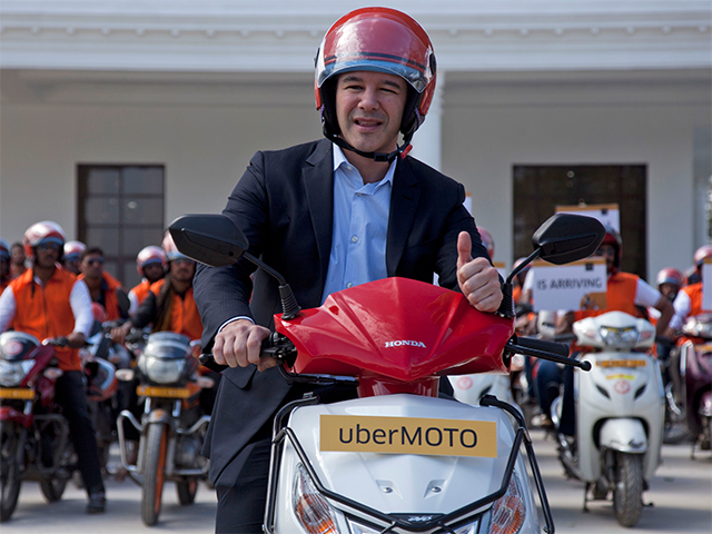Uber CEO Travis Kalanick announces launch of bike-sharing service UberMOTO