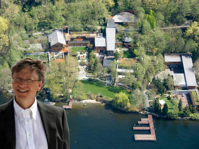 """With a net worth of $82.2 billion, Microsoft co-founder Bill Gates is the richest man in America. It shouldn't be too surprising that one of the wealthiest people in the world also has an insanely extravagant home.  It took Gates seven years and $63 million to build his Medina, Washington, estate, named """"Xanadu 2.0"""" after the fictional home of Charles Foster Kane, the title character of """"Citizen Kane.""""  At 66,000 square feet, the home is absolutely massive, and it's loaded to the brim with high-tech details."""