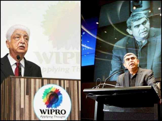 Wipro chairman Azim Premji (L) and Infosys CEO Vishal Sikka (R)