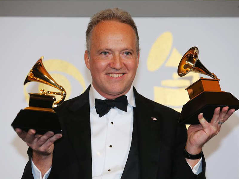 Ted Nash holds his awards during the 59th Annual Grammy Awards in Los Angeles