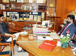 Irrfan Khan chats with Modern School principal Dr Vijay Datta
