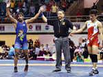 Bajrang Punia celebrates after winning the gold medal