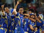 Mumbai Indians players celebrate