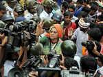 BJP Rajya Sabha MP Rupa Ganguly during protest