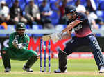 Sarfraz Ahmed watches as Jonny Bairstow plays a shot​