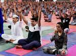 Devendra Fadnavis and Jackie Shroff perform yoga