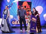 Neha Dhupia, Sohail Khan and Bharti Singh on the sets