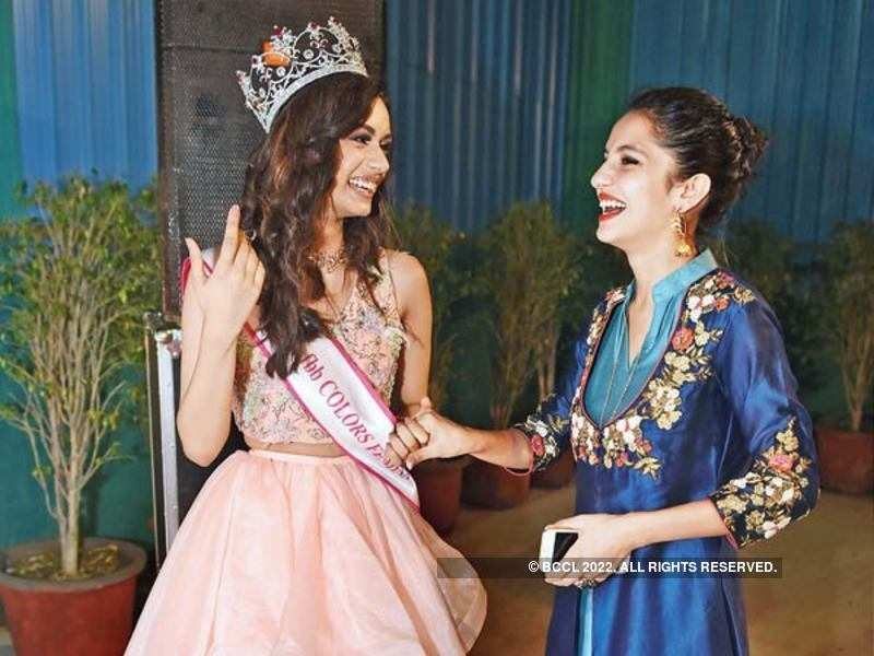 Manushi with her school senior and former Miss India Koyal Rana (Picture: BCCL/ Ranjit Kumar/ Stylist credit - fashion director - Rocky S, associate stylist - Sheefa Gilani)
