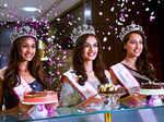 fbb Femina Miss India 2017 second runner-up Priyanka Kumari, fbb Femina Miss India 2017 winner Manushi Chillar and fbb Femina Miss India 2017 first runner-up Sana Dua
