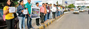IT employees form human chain to get traffic woes heard