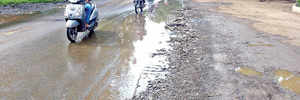 Potholed road at Bhosari MIDC poses risk to users