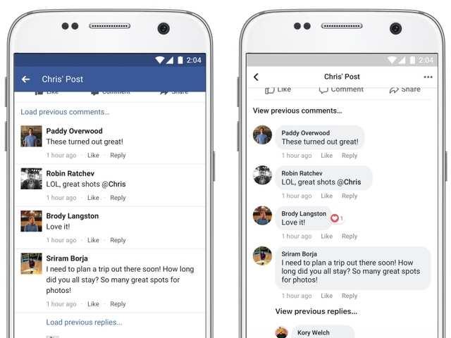 Facebook redesigns main app and 'Conversations' in Instagram