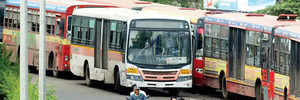 Bus with loose handbrake rams into three parked two-wheelers